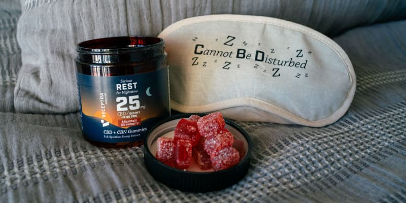 CBD Gummies for Sleep on pillow